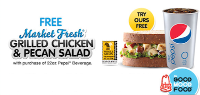 Arbys FREE Grilled Chicken Pecan Salad Sandwich