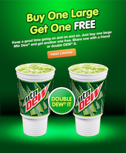 Arbys BOGO Mountain Dew
