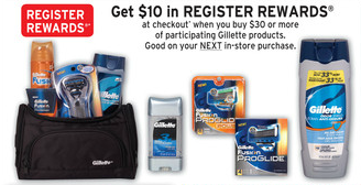 Walgreens Gillette Register Reward Deal