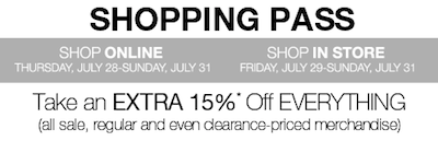 Kohls 15 Shopping Pass