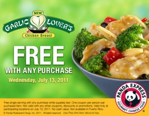 Panda Express FREE Garlic Lovers Chicken Breast Entree Coupon