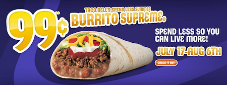 Taco Bell: Burrito Supreme Only $0.99