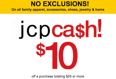 JCPenney 10 off 25