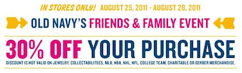 Old Navy Friends Family 30 Coupon