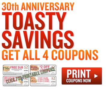 Quiznos Toasty Savings