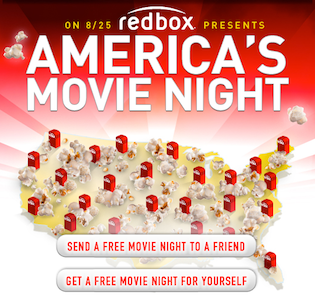 Redbox: FREE DVD Rental on August 25th