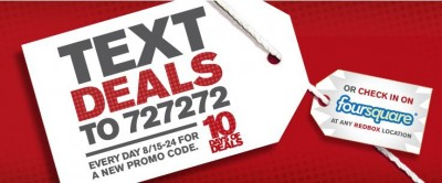 Redbox Text Deals August 2011