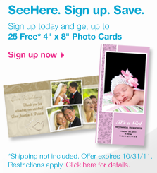 SeeHere 25 FREE 4x8 Photo Cards