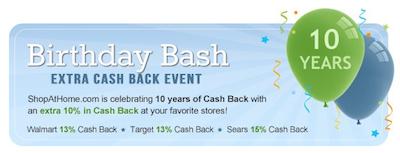 ShopAtHome Birthday Cash Back Event