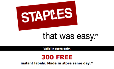 Staples 300 FREE Instant Labels