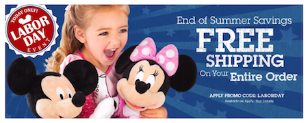 Disney Store FREE Shipping Labor Day