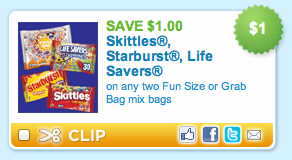 Skittles Starburst Life Savers Fun Size Bags Printable Coupon