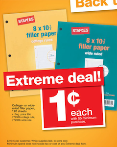 Staples Filler Paper Deal 94 910