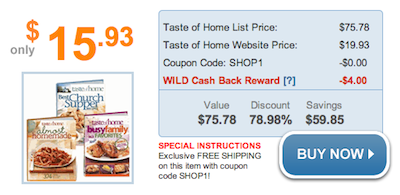 Taste of Home Cookbooks Magazine Cash Back Deal
