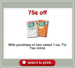 Tic Tac Target Coupon