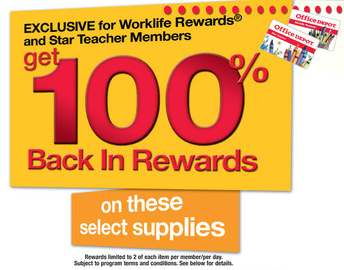 Office Depot 100 Back Worklife Rewards