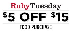 image regarding Ruby Tuesdays Coupons Printable named Ruby Tuesday: $5 off $15 Food items Get Coupon