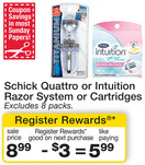 Walgreens Schick Razor Register Reward Deal