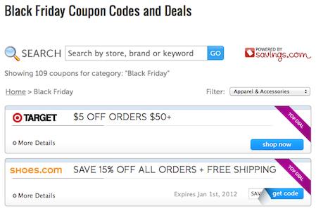 Black Friday Coupon Code Database