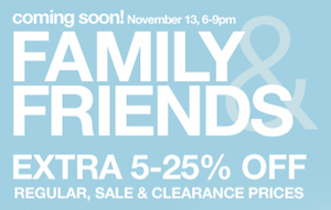 Sears Friends Family Sale