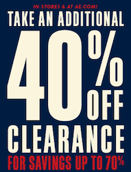 American Eagle: 40% off Clearance + 15% off Coupon Code