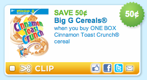 Cinnamon Toast Crunch Cereal Coupon