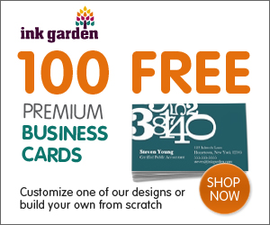 InkGarden 100 FREE Business Cards