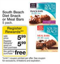 Walgreens South Beach Bars Register Reward Deal