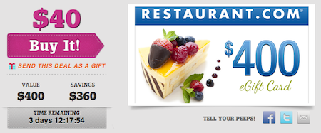 $400 Restaurant.com eGift Card for $40