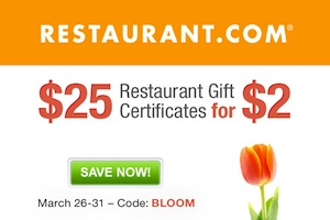 Restaurant.com: New 80% off Code ($25 Dining Certificates for $2)