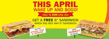 Subway BOGO Offer April