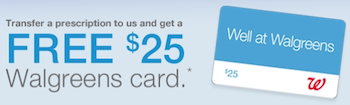 Walgreens Prescription Transfer Gift Card