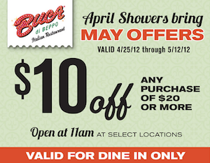 photograph relating to Buca Di Beppo Printable Coupons titled Best Fresh new Cafe Printable Discount coupons (Weekend of 4/27/12)