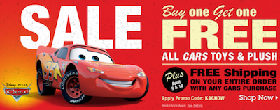 Disney Store: BOGO Cars Toys and Plush + FREE Shipping