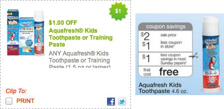 Walgreens FREE Aquafresh Kids Toothpaste