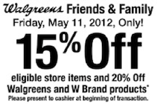 Walgreens Friends Family Sale