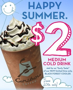 Caribou Coffee 2 Medium Cold Drink