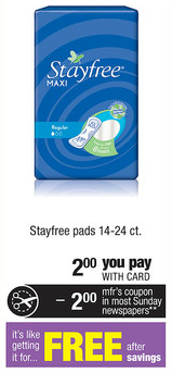 CVS FREE Stayfree Pads