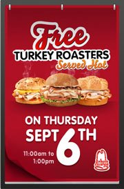 Arbys FREE Turkey Roaster Sandwich