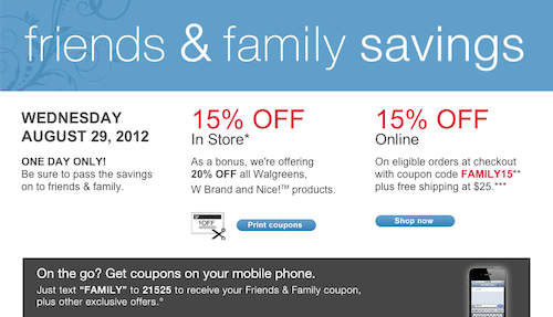 Walgreens Friends Family Coupon