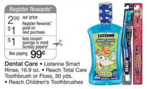 Walgreens Reach Register Reward Deal