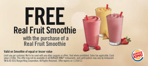 Burger King Real Fruit Smoothie Coupon