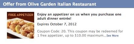 Olive Garden Coupon: FREE Appetizer with Entree Purchase