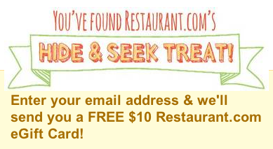 FREE $10 Restaurant.com eGift Card