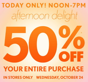 LOFT Coupon: 50% off Your Entire Purchase (Today Only)