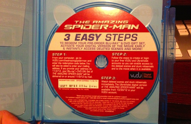 The Amazing Spider Man Instruction Card