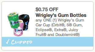 Wrigleys Gum Bottle Coupon