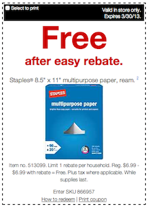 Staples FREE Paper
