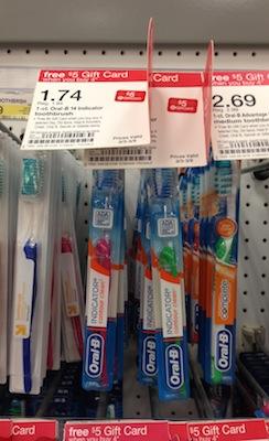 Target FREE Oral B Toothbrushes