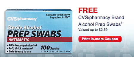 CVS FREE Alcohol Prep Swabs